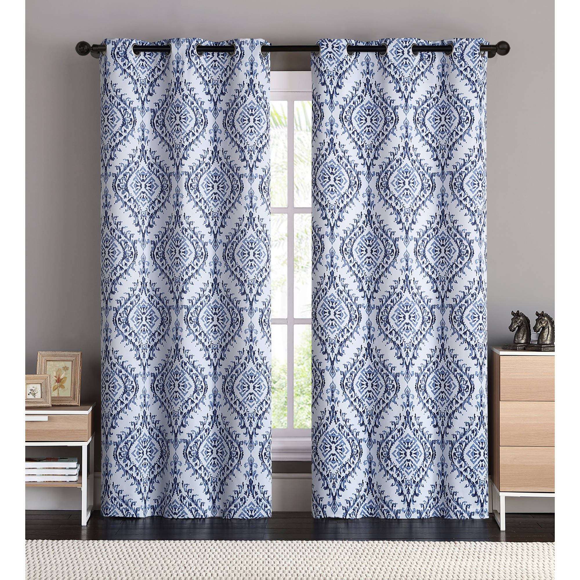 VCNY Home London Damask Printed Blackout Grommet Top Window Curtain Panel - Set of Two, Multiple Sizes and Colors Available