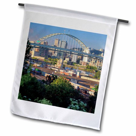 3dRose Oregon, Portland. Fremont Bridge over Willamette River. - Garden Flag, 18 by 27-inch ()