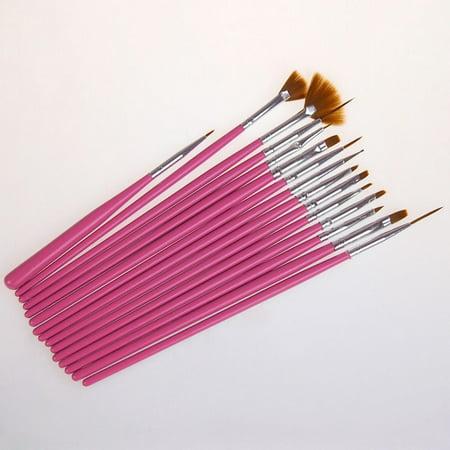 15Pcs/set Nail Art Polish Painting Draw Pen Brush Tips Tools Set - Red And White Halloween Nail Art