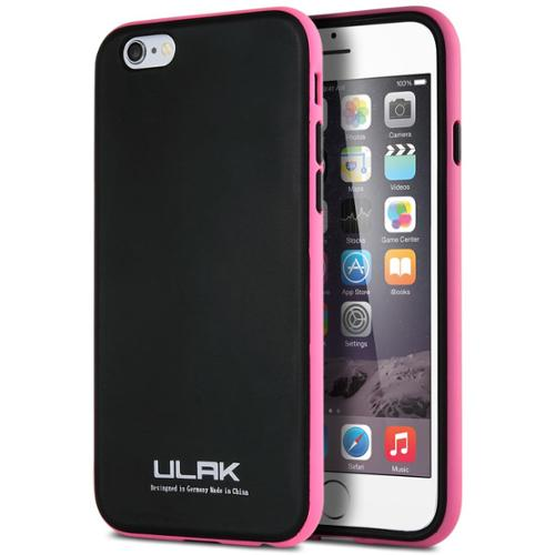 ULAK Slim Fit TPU Protective Hybrid Bumper Case for Apple iPhone 6S 6 4.7 Inch(Black/Hotpink)