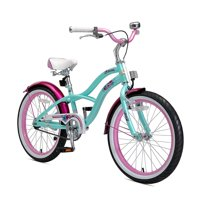 BIKESTAR Original Premium Safety Sport Kids Bike Bicycle with sidestand and Accessories for Age 6 Year Old Children | 20 Inch Cruiser Edition for Girls | Pepper Mint & Pink