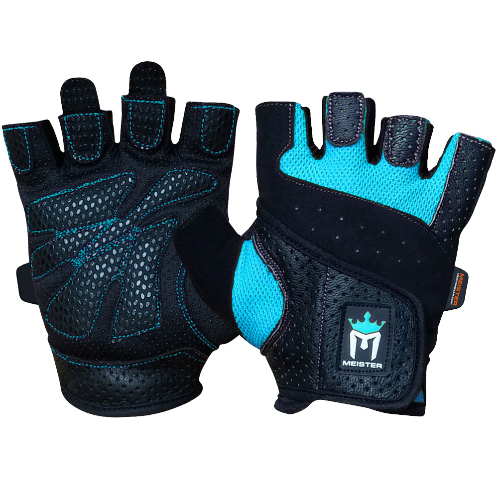 Meister Women's Fit Weight Lifting Gloves (Pair) - Turquoise - Large