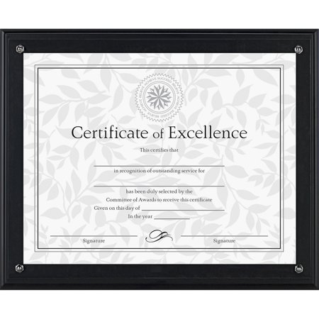 DAX Award Plaque, Wood/Acrylic Frame, Up to 8 1/2 x 11, Black