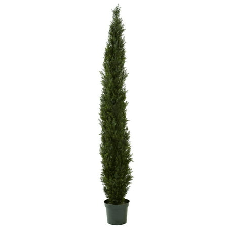 Nearly Natural 8 ft. Mini Cedar Pine Tree with 4249 tips in 12 in. Pot (Two Tone (The Game Ft Chris Brown Pot Of Gold)