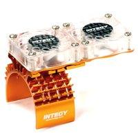 Integy RC Toy Model Hop-ups T8534ORANGE Motor Heatsink + Twin Cooling Fan for Traxxas 1/10 Slash 4X4 (6808)