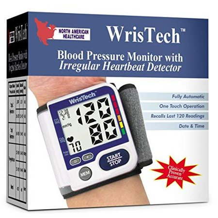 Blood Pressure Monitor Accurate Fully Automatic Wrist Monitoring Meter with Irregular Heartbeat Detector and Includes Standard Wrist Cuff Size, White](Wrist Cuffs)