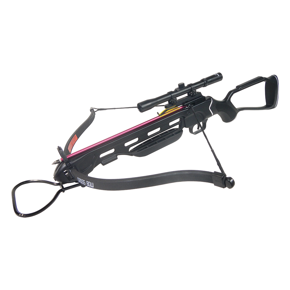 150 lb Black / Wood / Camouflage Hunting Crossbow Archery Bow + 4x20 Scope +7 Arrows + Rope Cocking Device 180 80 50 lbs