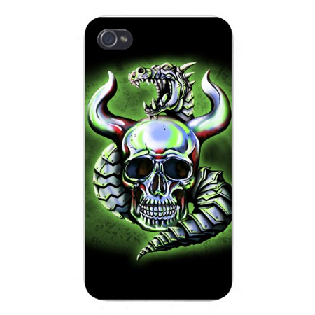 Metallic White (Apple iPhone Custom Case 5 / 5S White Plastic Snap On - Metallic Dragon w/ Skull &)