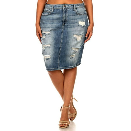 - Jack David Blue Sexy Womens Plus Size Stretch Denim Jeans Skirt Modern Series