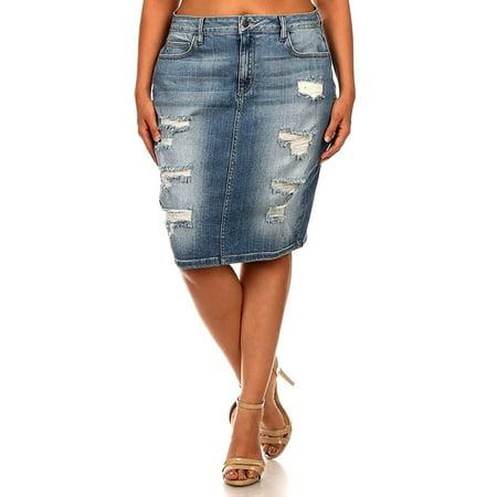 Jack David Blue Sexy Womens Plus Size Stretch Denim Jeans Skirt Modern (Plus Size Stretch Skirt)