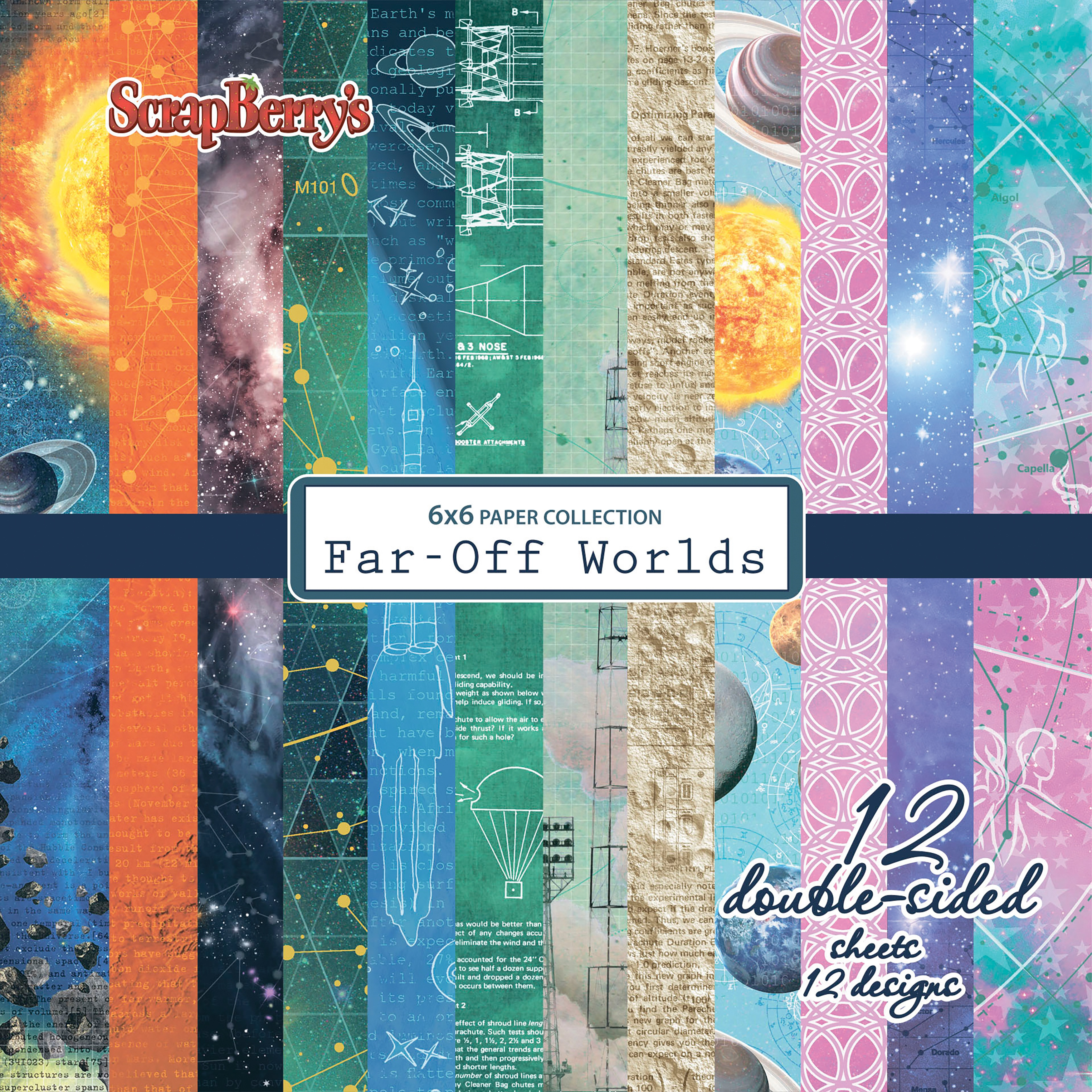 """Scrapberry's Far-Off Worlds Paper Pack 6""""X6"""" 12/Pkg-6 Double-Sided Designs/2 Each"""
