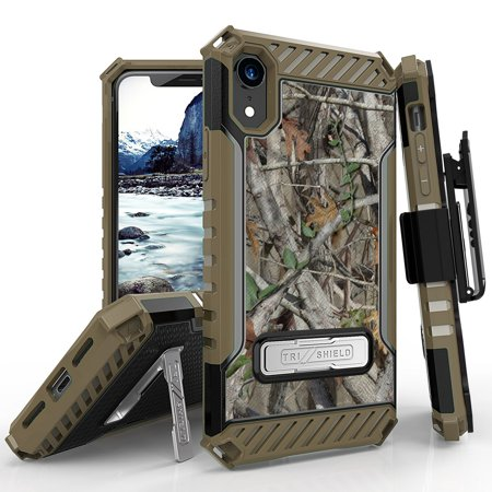 Beyond Cell TriShield Series Compatible with iPhone XR, Military Grade Drop Tested (MIL-STD 810G-516.6) Kickstand Shockproof Case with Rotating Belt Clip Holster - Camo Tree