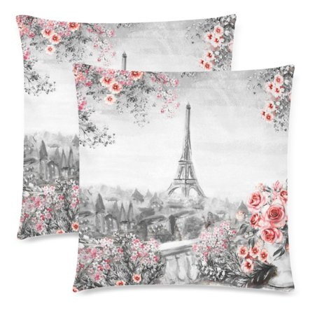 YKCG Oil Painting Summer in Paris Eiffel Tower Pillowcase 18x18 Twin Sides, France Landscape with Flower Rose and Leaf Zippered Cushion Pillow Case Cover Decorative, Set of 2