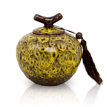 Ceramic Memorial Urn For Adults - Medium 50 Pounds - Autumn Yellow Branch - Engraving Sold Separately