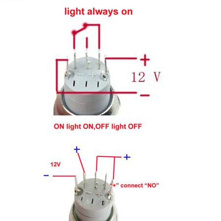 """LED Horn Push Button Switch Light 12V 16mm Blue 5/8"""" Waterproof Momentary Metal Stainless Steel Waterproof Universal Car Vehicle Van SUV Auto Boat Marine Stainless Steel  US - image 2 de 8"""