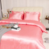 Collection 3 piece Bridal Satin Silk Solid Color Duvet Cover Set Pink Queen