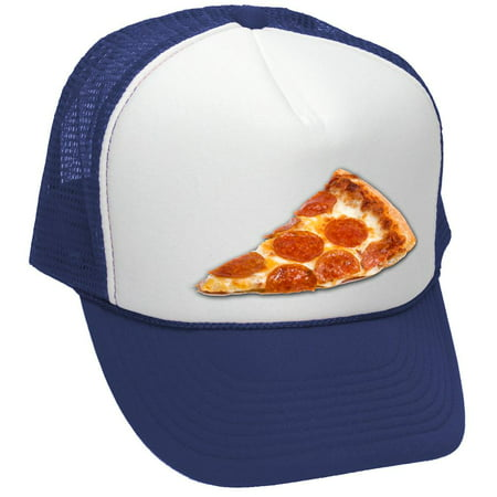 PIZZA - food truck concession cart hot dog - Mesh Trucker Hat Cap, Navy - Truck Hats