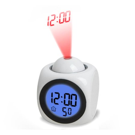 Alarm Century Single - Multi-function Alarm Clock , Projection Alarm Clock LED Desk Clock with Digital LCD Voice Talking Function with Snooze/ Temperature Function,Bedside Alarm Clock