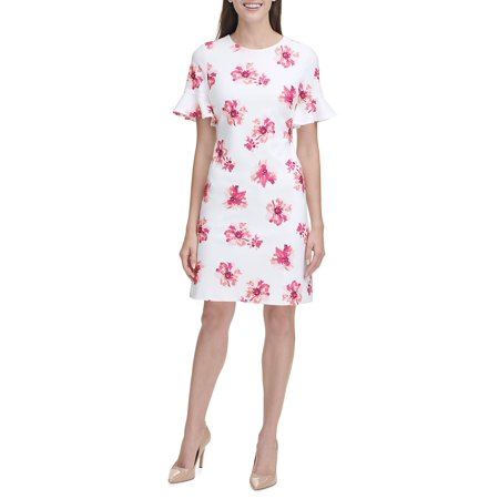 Floral Flutter Sleeve Sheath Dress (Dkny Dress Women)