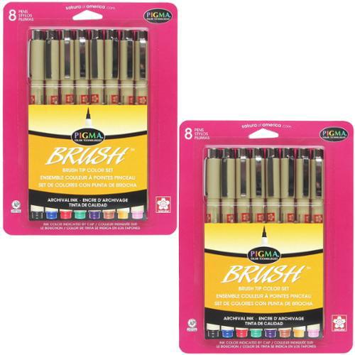 Sakura Pigma Brush Tip 2 Sets of the 8pk Assorted Color Brush Ink Pen Set