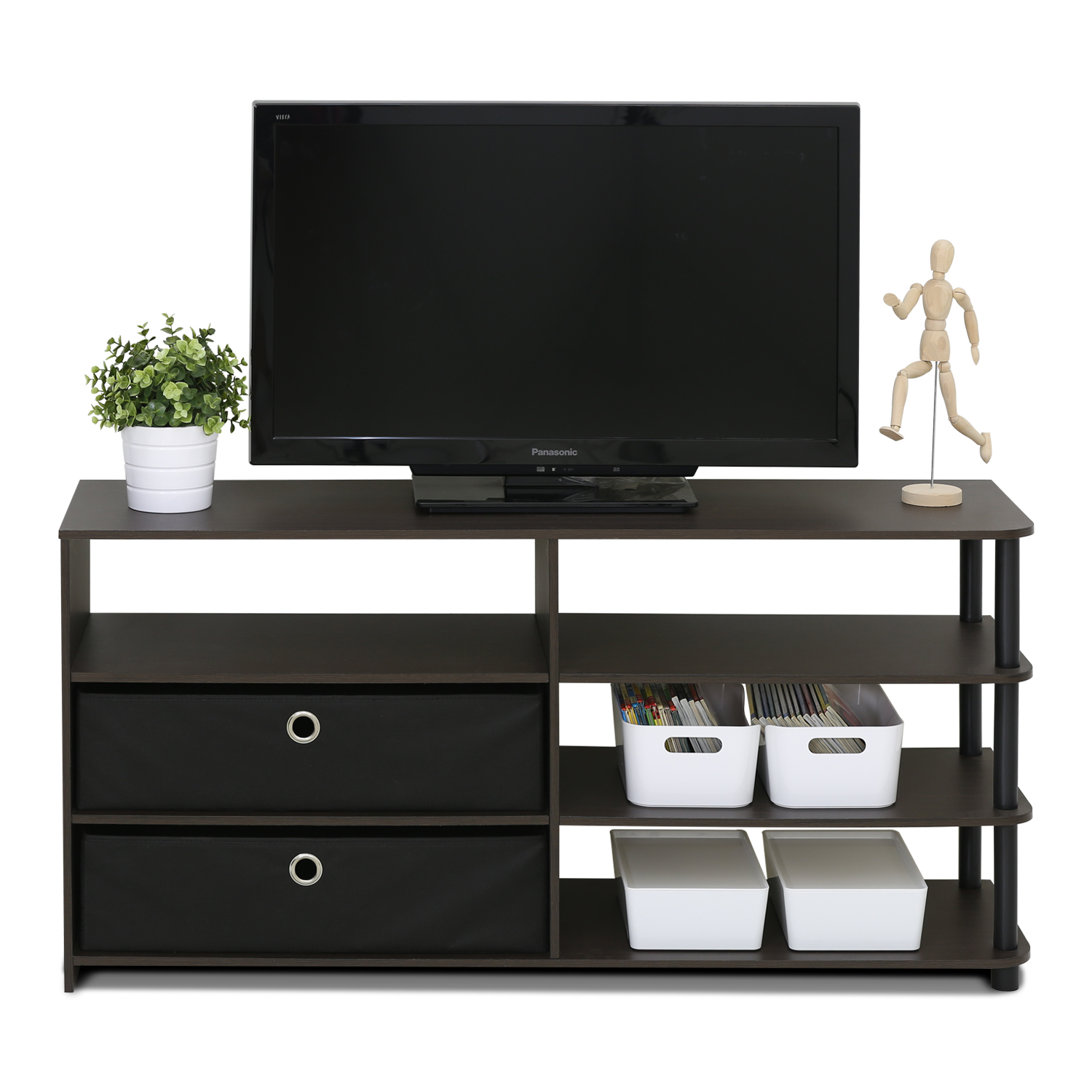 Furinno JAYA Simple Design TV Stand with Bins, Walnut by Overstock