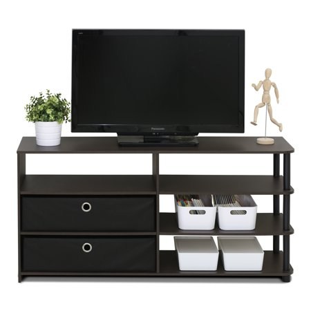 Furinno JAYA Simple Design TV Stand with Bins, Walnut