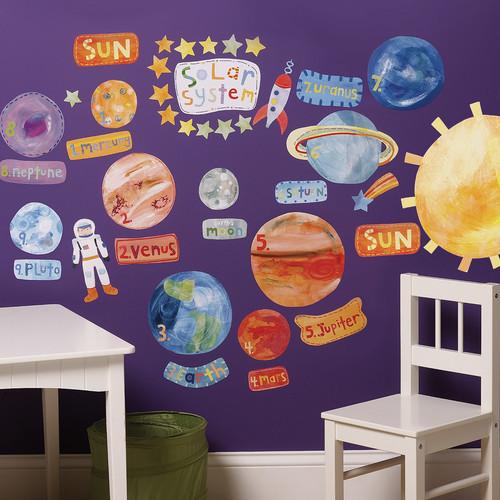 "Wallies Peel & Stick Solar System, 2 sheets 19"" x 25"""