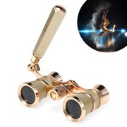 3x25 Opera Glasses Lens Retro Metal Body Mini Theater Binoculars with Chain/Handle for Musical Concert Stage Drama