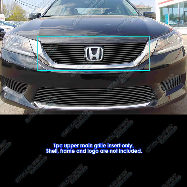 APS Fits 2013-2015 Honda Accord Sedan Black Upper Billet Grille Insert