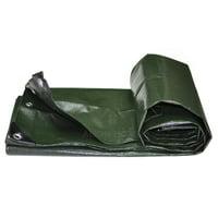 Dark Green Heavy Duty 12 Mil Poly Tarps Waterproof Covers for Tarpaulin Canopy, Camping, Carport, Boat, Furniture, Floors, RV, Pool or Roof Repair Items - 6' x 6'