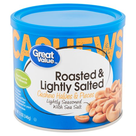 Great Value Roasted & Lightly Salted Cashew Halves & Pieces, 12 (3 Piece Roast Carving)