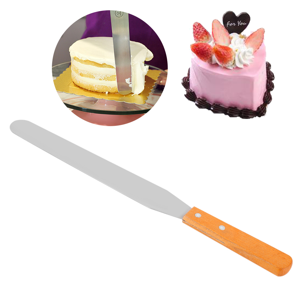 Yosoo Stainless Steel + Wood Straight Spatula Cake Icing Decorating Smooth Tool for Baking Pastry Stainless Steel Spatula Icing Spatula