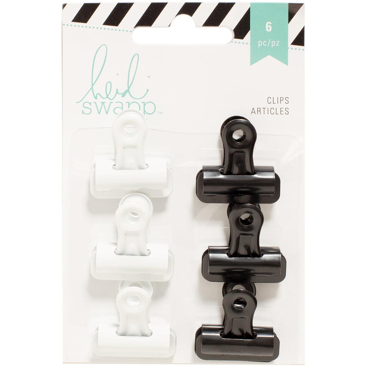"Heidi Swapp Bulldog Clips 1"" 6/Pkg-Black/White - image 1 of 1"