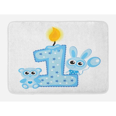 1st Birthday Bath Mat, Boys Party Theme with a Cake and Candle Rabbit and Bear Animals, Non-Slip Plush Mat Bathroom Kitchen Laundry Room Decor, 29.5 X 17.5 Inches, Baby Blue - Boys Birthday Party Themes