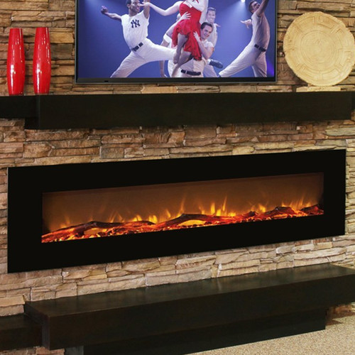 Gibson Living Oakland Log Linear Wall Mount Electric Fireplace