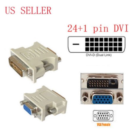 Dvi D Male To Vga Female (25pin (24+1) DVI-D male to 15pin VGA female Adapter (Color May)