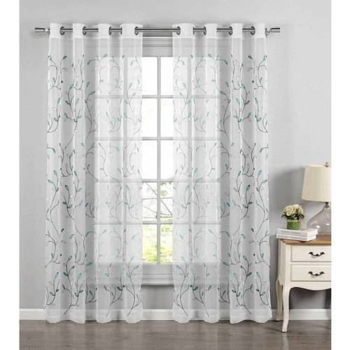 """Wavy Leaves Embroidered Sheer Extra-Wide 54"""" x 84"""" Grommet Curtain Panel by YMF Carpets Inc."""
