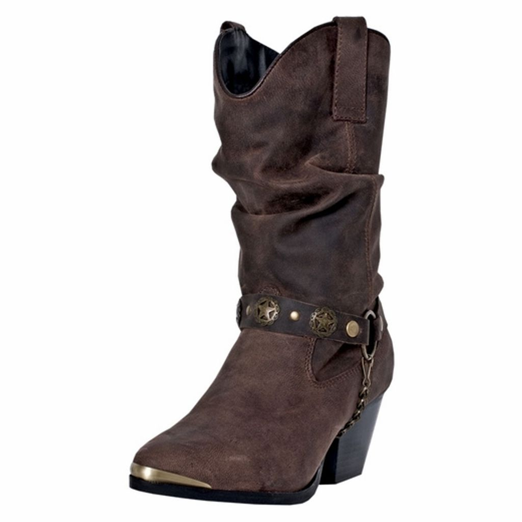 Dingo Fashion Boots Womens Olivia Leather Pigskin Brown DI 524 by Dingo