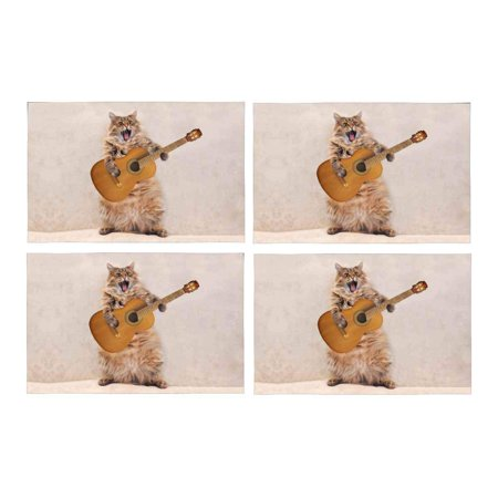 MKHERT Funny Rock Cat Play Guitar Placemats Table Mats for Dining Room Kitchen Table Decoration 12x18 inch,Set of 4 (Guitar Table Decorations)