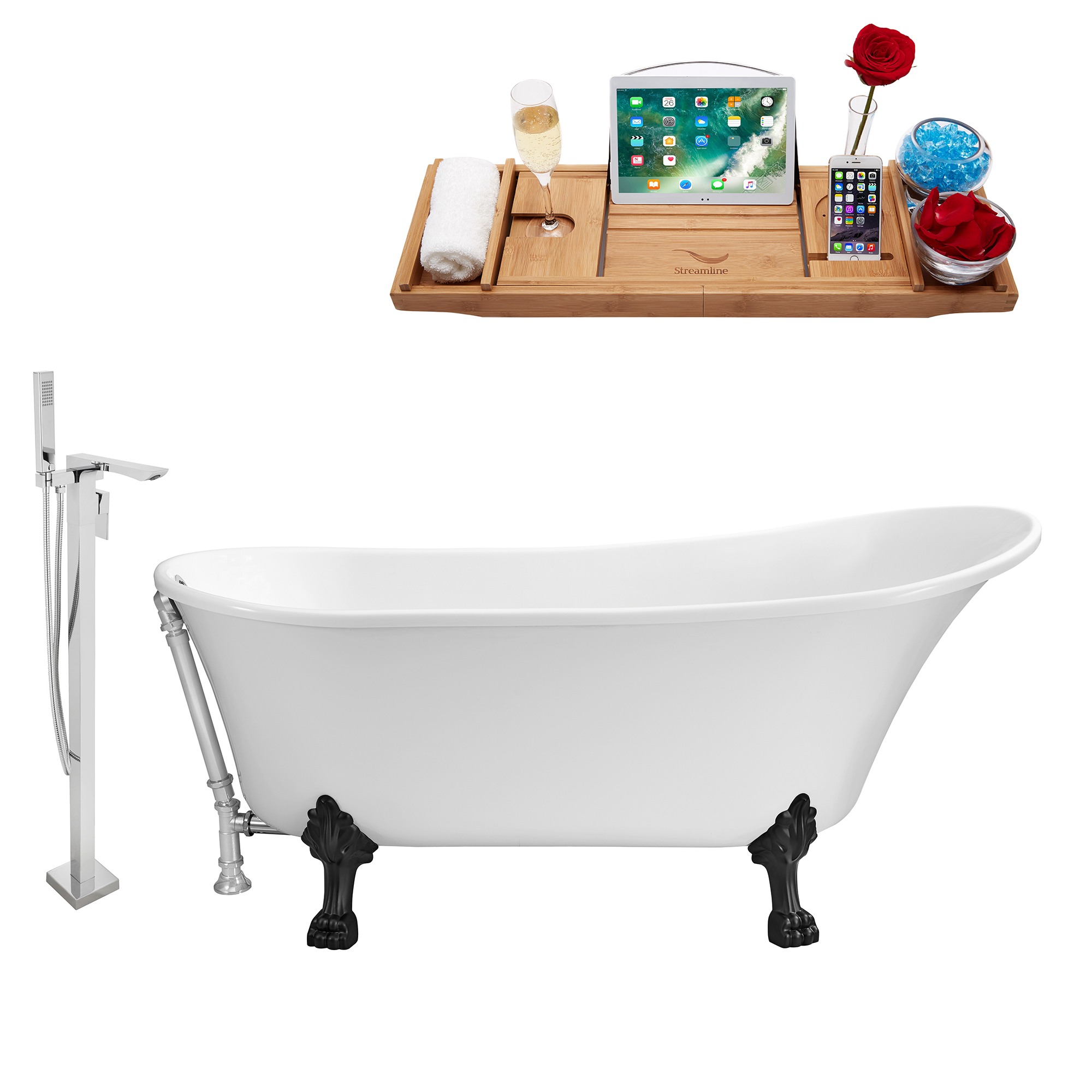 "Cast Iron Tub, Faucet and Tray Set 65"" RH5440WH-CH-100"