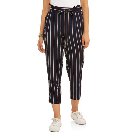 Paper Tee Juniors' Striped and Solid Paper Bag Challis Pants with Tie Waist