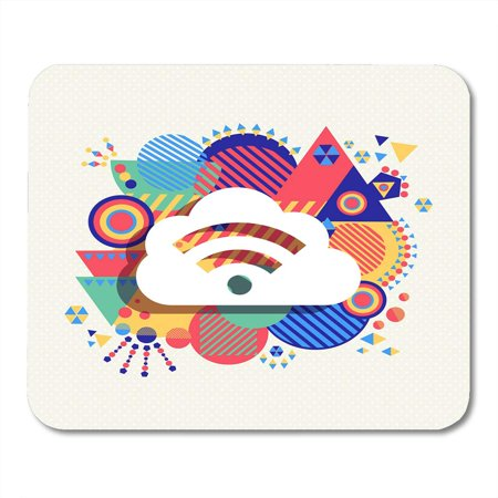SIDONKU Fun RSS Feed Cloud Computing Design with Colorful Vibrant Geometry Shapes Social Media Concept Abstract Mousepad Mouse Pad Mouse Mat 9x10