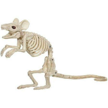 Mouse Standing Skeleton Halloween Decoration, Natural Bone