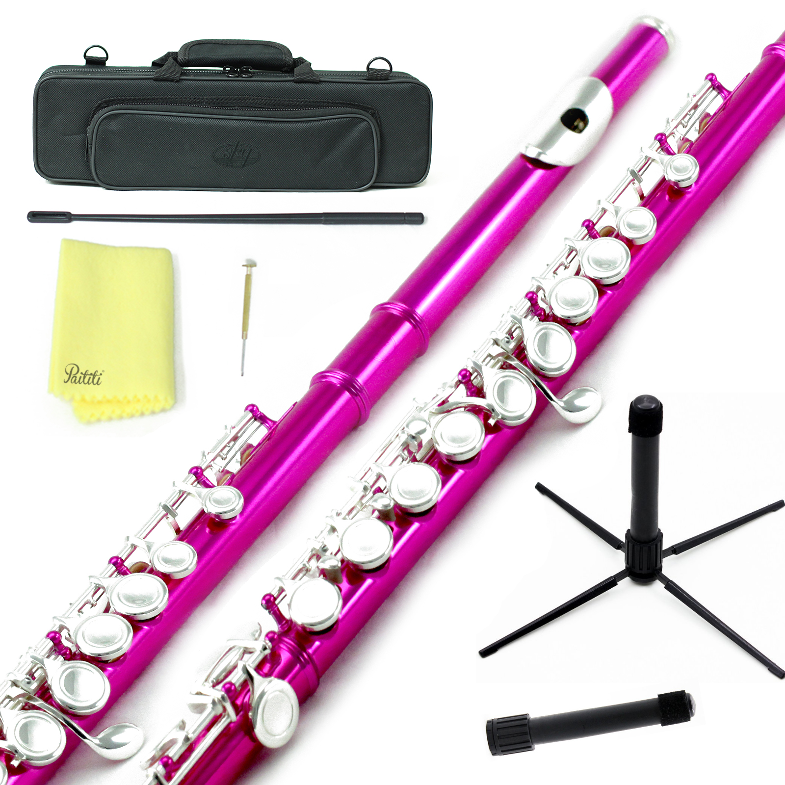 Sky Closed Hole C Flute with Lightweight Case, Cleaning Rod, Cloth, Joint Grease and Screw Driver - Hot Pink Silver