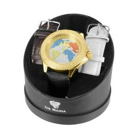 Mens World Map Watch 14k Black Gold Tone Ice Mania Joe Rodo Jojo Techno Classy