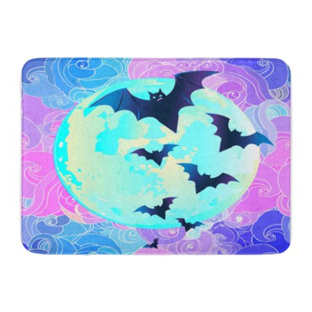 KDAGR Halloween Vector Illustration Creepy Cute Bat Flying Against Full Moon Doormat Floor Rug Bath Mat 30x18 inch - Level 4 100 Floors Halloween