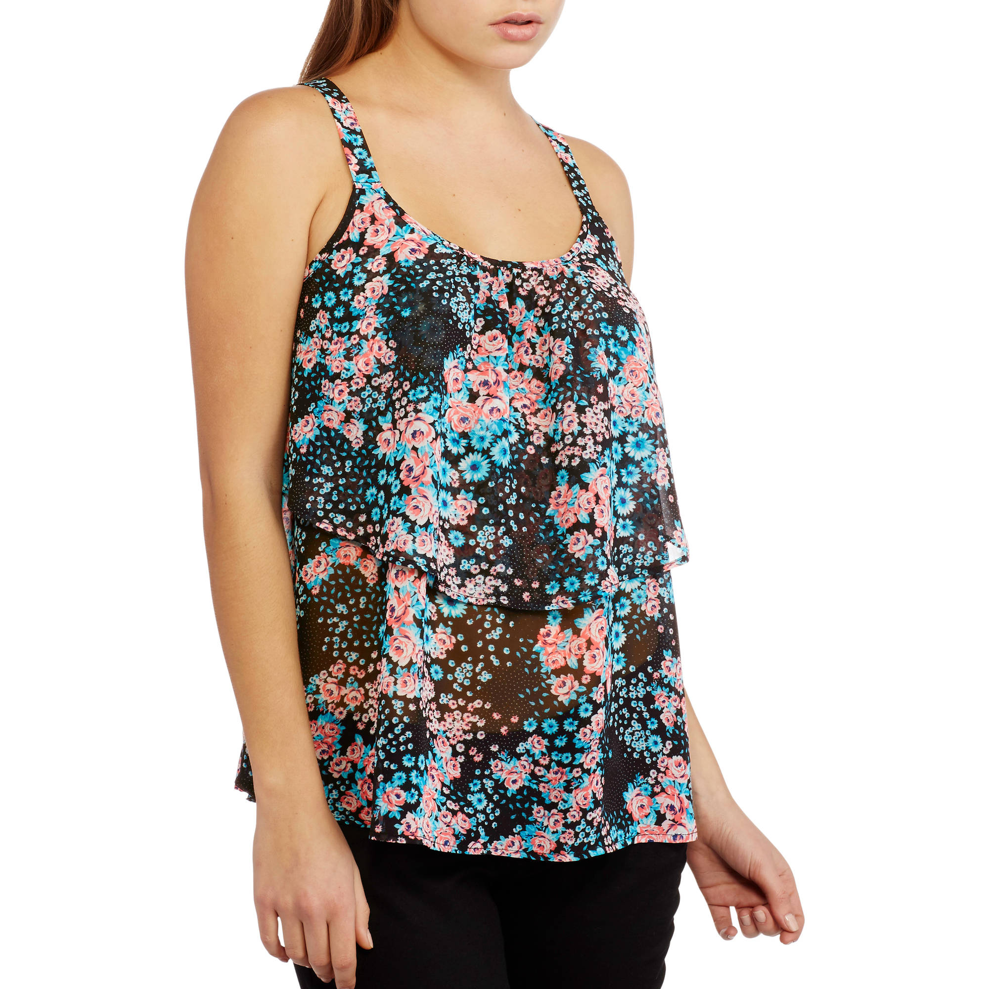 No Boundaries Juniors Printed Ruffle Cami Tank with Lace Back