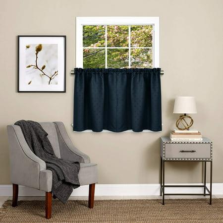 Twilight Room Darkening Energy Saving Kitchen Curtain Tier Pair or Valance Navy - Hd Street Scene Valance