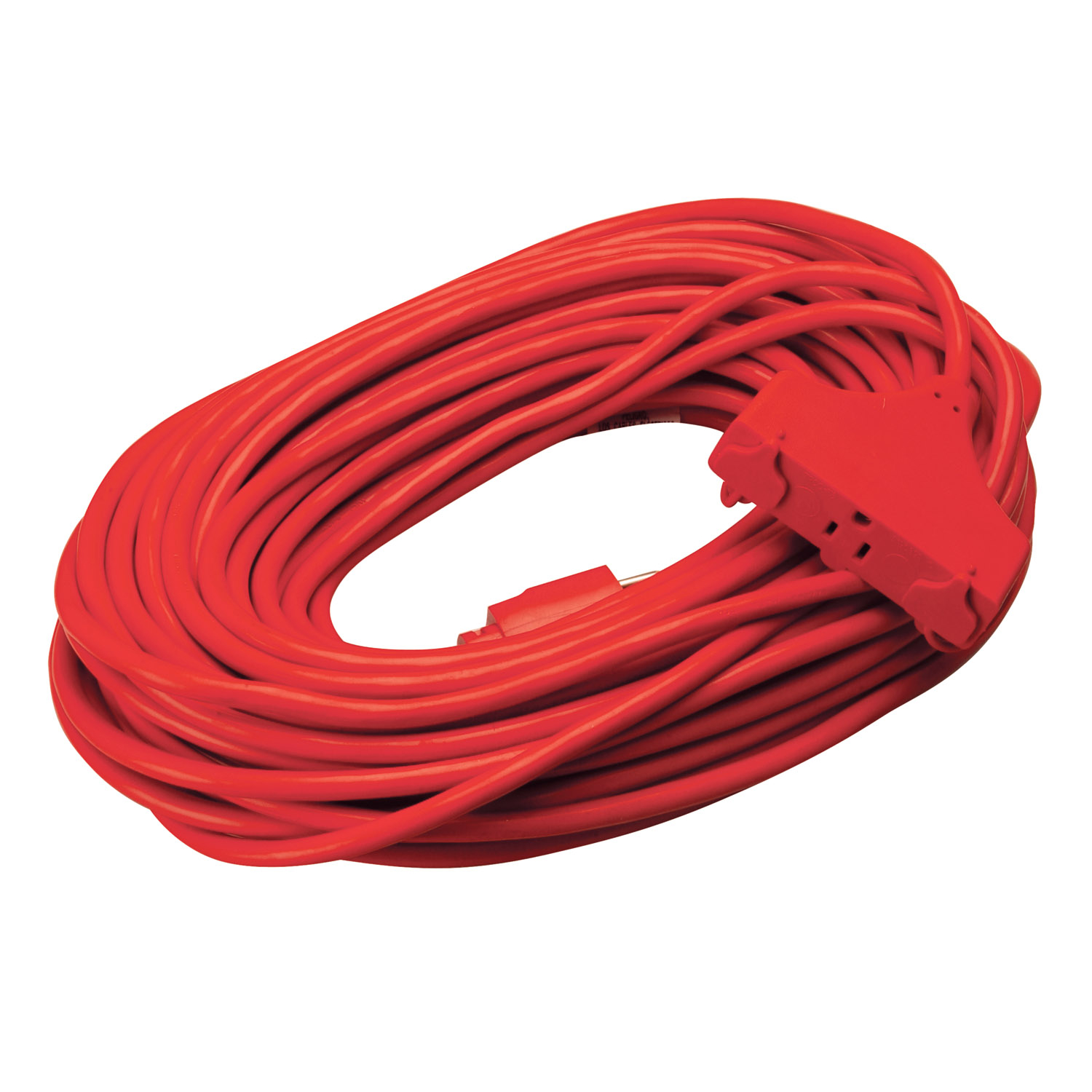 Coleman Cable 4219SW8804 100' 14/3 Red 3-Outlet Round Red Extension Cord