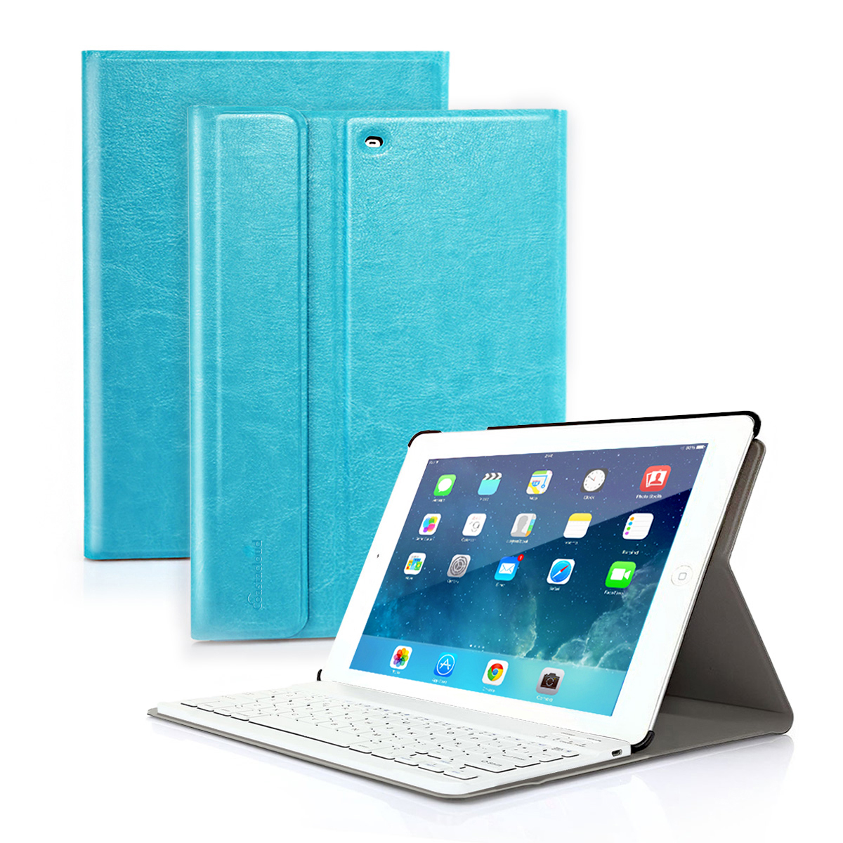 CoastaCloud For 9.7 inch Apple NEW iPad 2017 Wireless Bluetooth Keyboard with Stand Folio Case Cover Rechargeable USB Cable Removeable Keyboard PU Leather